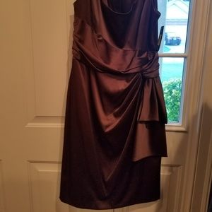 Brown satin size 12 dress with side knot
